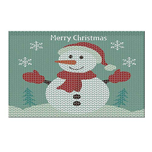 YOLIYANA Snowman Durable Door Mat,Traditional Holiday Cute Greeting Snowman Snowflakes Pine Trees Cheerful Decorative for Home Office,19.6