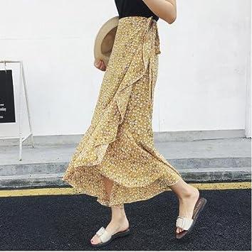 SONGQINGCHENG Impresión Floral Bohemian Faldas Largas Mujer Playa ...