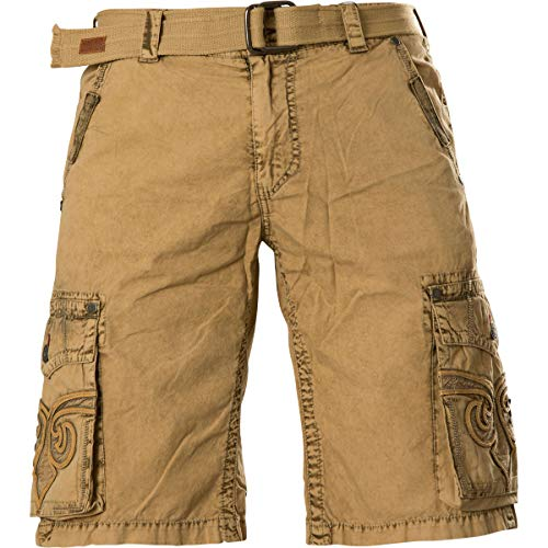 (Affliction Revival Fashion Embroidered Cargo Shorts for Men)