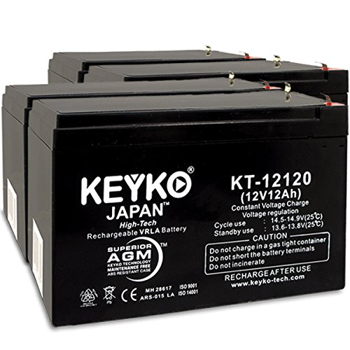 Ebike Electric Scooter Battery E-Bike Boreem - 12Volt. 12Ah Battery Fresh & REAL 12.0 Amp AGM/SLA Rechargeable Replacement Genuine KEYKO KT-12120 - F2 Terminal- 4 Pack