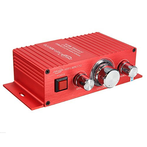 ELEGIANT 12V 2A 15W x 2 HiFi Mini Amplifier with LED Light 2.0 Channel Bass Power AMP for Car Motorbike Home Boat Red (15w Bass Amp)