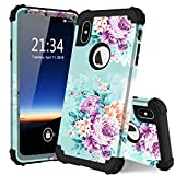 iphone 3 protective screen - for iPhone Xs Max case, PIXIU Unique Hybrid Three Layer Heavy Duty Shockproof Full Body Sturdy Protective case Cover Without Built-in Screen Protector for iPhone Xs Max 6.5 Inch 2018 Peonies