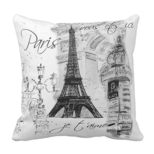 Emvency Throw Pillow Cover Vintage French Paris Eiffel Tower Collage Black Painting Decorative Pillow Case Home Decor Square 18 x 18 Inch Pillowcase (Short Paris)