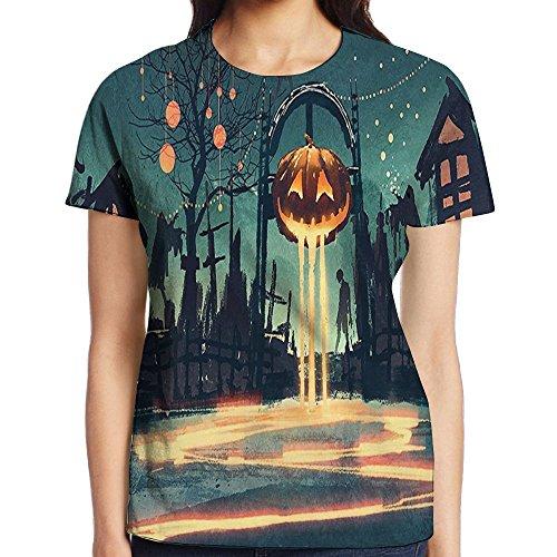 WuLion Halloween Theme Night Pumpkin and Haunted House Ghost Town Artful Women's 3D Print T Shirt XL White -