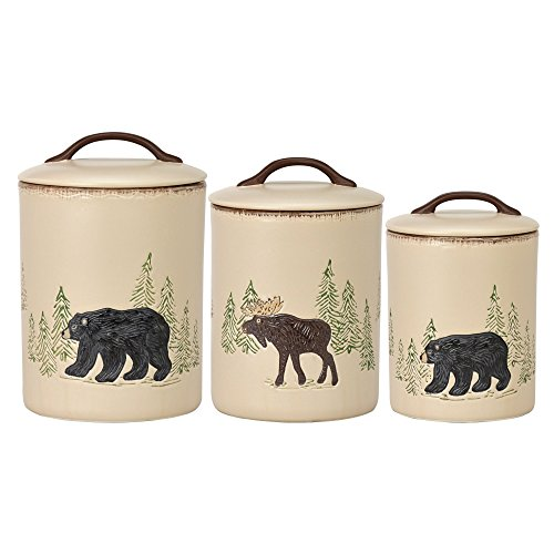 Moose Stoneware - Park Designs Rustic Retreat Canister Set, Multicolor