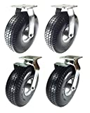 8'' x 2-1/2'' Pneumatic Wheel Caster Set (Foam-Flat Free) Rigid Swivel and Brake (8'' : 2R + 2SB)