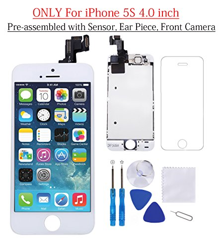 Glob-Tech iPhone 5S LCD Display Screen Replacement Touch Digitizer Full Assembly for iPhone 5S with Preassembled Components (Facing Proximity Sensor, Ear Piece, Front Camera) and Repair Tools, White