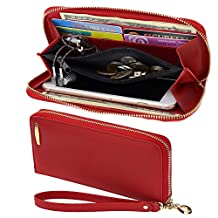 COCASES Clutch Wallet RFID Protection Women Leather Card Holder Zipper Purse Handbag