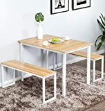 Homury Modern Studio Soho Dining Table with Two Benches 3 Piece Set,White