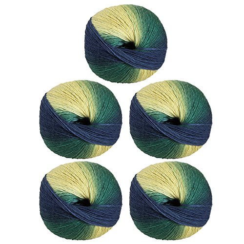 Knit Picks Chroma Worsted Superwash Wool Variegated Multi Color Yarn - 5-Pack with Pattern (Lake Front)