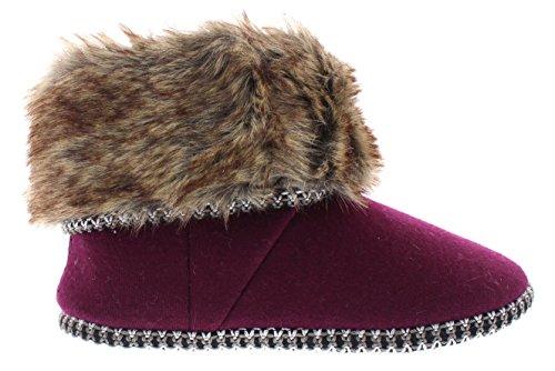 Isaac Mizrahi Womens Annamarie Doux En Peluche Tweed Nubby Boucle Tricot Maison Chausson Bootie Avec Fourrure Manchette Bourgogne