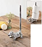 Cast Iron Pup Toilet Paper Holder Rustic Country Theme Bathroom Home Decor