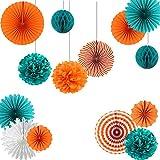 Teal and Tangerine Orange Paper Wheel Fans Pom Poms Balls Flowers for Wedding Birthday Party Decoration Easy Joy (Teal Orange)