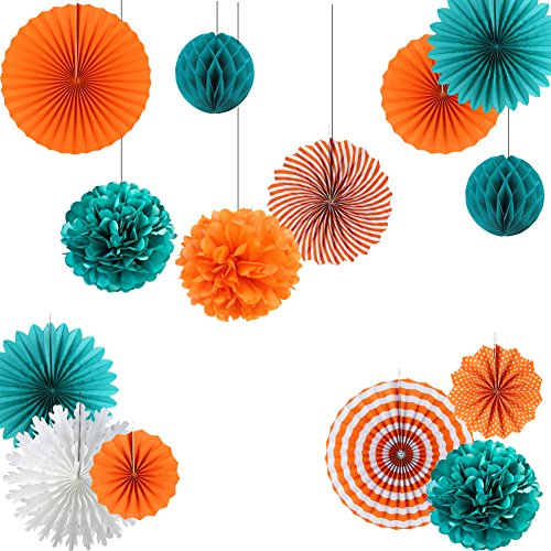 Teal and Tangerine Orange Paper Wheel Fans Pom Poms Balls Flowers for Wedding Birthday Party Decoration Easy Joy (Teal -