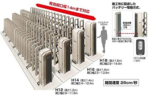 四国化成 ALX2 電動タイプ ステンレス フラット/凸型レール ALXT18E□-935SC 『カーゲート 伸縮門扉』 右施錠(R)