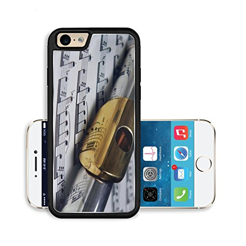 Liili Premium Apple iPhone 6 iPhone 6S Aluminum Backplate Bumper Snap Case flute with gold mouthpiece on sheet music Photo 204696 (Scratch Mouth Sheet)