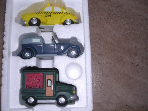 Department 56 Heritage Village Collection ; Christmas in the City ; Taxi & Automobiles Set of 3 ; Handpainted Porcelain Accessories #5964-1 (Village 56 Heritage)