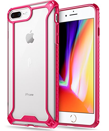 iPhone 7 Plus/iPhone 8 Plus Case, POETIC Affinity Series Premium Thin/No Bulk/Clear/Dual Material Protective Bumper Case for Apple iPhone 7 Plus (2016) / iPhone 8 Plus (2017) Pink/Clear