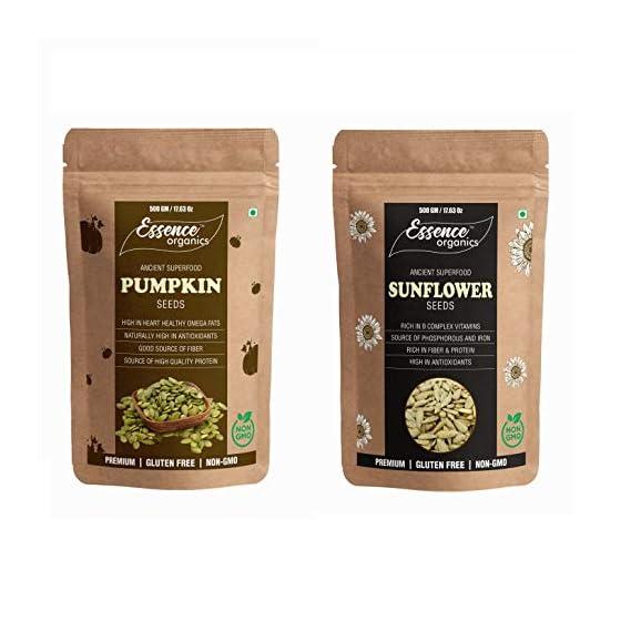 Essence Organics Superseeds Combo - Pumpkin Seeds & Sunflower Seeds (500 Grams Each)