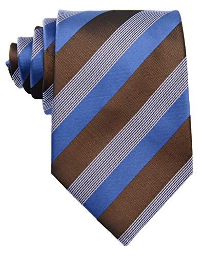 New Classic Striped Blue Brown JACQUARD WOVEN Silk Men's Tie Necktie