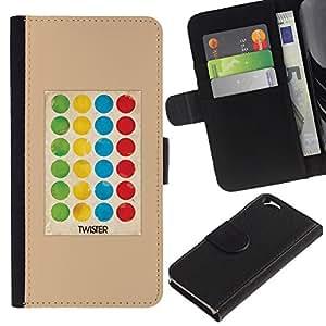 EJOY---La carpeta del tirón la caja de cuero de alta calidad de la PU Caso protector / Apple Iphone 6 / --Juego del punto de polca de la torcedura Niños