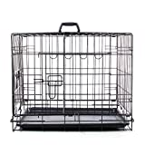 Masione® 48 inch Double-door Folding Pet Dog Cat Crate Cage Kennel w/ Divider&ABS Tray Black (48″w/Divider, Black) For Sale