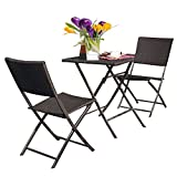 Grand patio Rattan Patio Set,Outdoor table Sets with Rust-proof Steel Frames, 3 Piece Weather Resistant Parma Set of Foldable Garden Table and Chairs, Brown For Sale