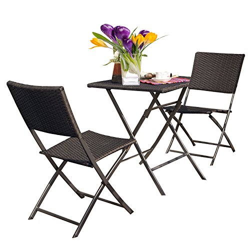 Grand patio Rattan Patio Set,Outdoor table Sets with Rust-proof Steel Frames, 3 Piece Weather Resistant Parma Set of Foldable Garden Table and Chairs, Brown by Grand patio