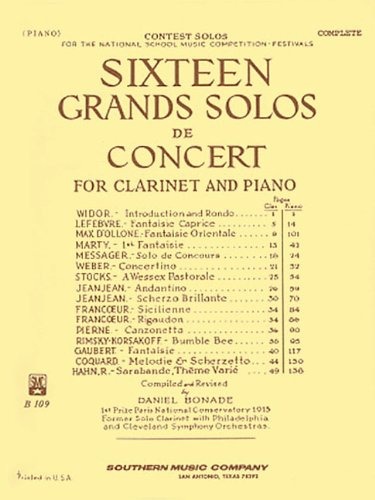 - Sixteen Grands Solos de Concert for Clarinet and Piano