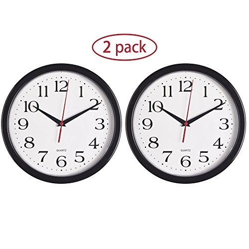 Bernhard Products - Black Wall Clocks, 2 Pack Silent Non Ticking Quality Quartz Battery Operated 10 Inch Round Easy to Read Home/Office/School Clock (Black) by Bernhard Products
