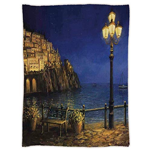 Amalfi Sofa (Yaoni Super Soft Throw Blanket Custom Cozy Thickened Blanket,Italy,Starry and Romantic Evening at The Coast of Amalfi in Italy Oil Painting Style,Navy Blue Brown,Suitable for Sofas,beds)