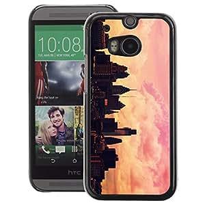 A-type Arte & diseño plástico duro Fundas Cover Cubre Hard Case Cover para HTC One M8 (City Painting Artist Pink Orange Sunset)