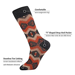 JOYNÉE Men's Casual 3 Pack Vintage Cabin Patterned Cotton Crew Dress Socks