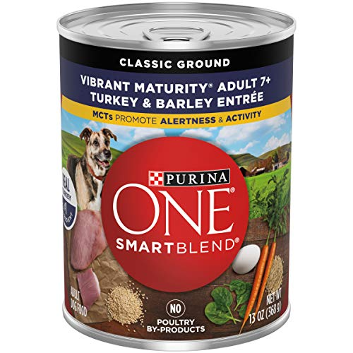 Purina ONE Natural Senior Pate Wet Dog Food, SmartBlend Vibrant Maturity 7+ Turkey & Barley Entree – (12) 13 oz. Cans