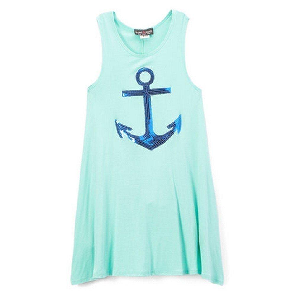 Lori/&Jane Girls Aqua Royal Blue Glitter Anchor Detail Sleeveless Top 6-14