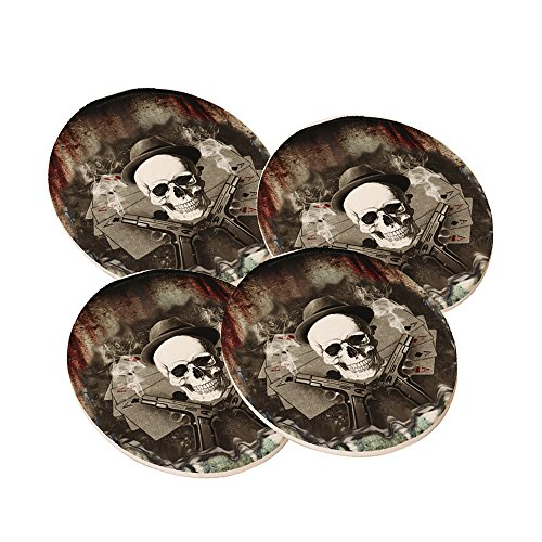 Poker Shark - Round Sandstone Drink Coaster (set of 4) by Elements of Space