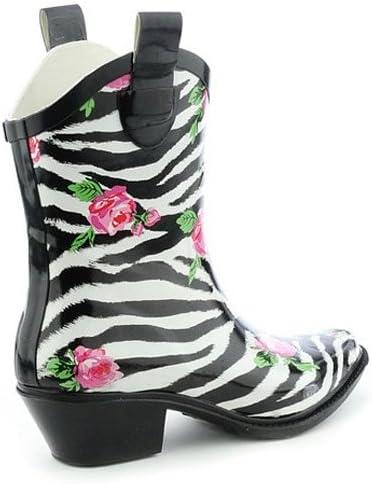 Womens Nature Breeze Cb Rain-21 Ankle Rose Prints Rain Boots Fashion Shoes