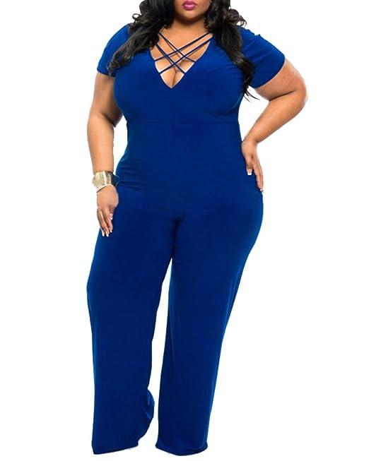 Kasen Donna V Collo Tute Jumpsuit Lunghi Tuta Eleganti Taglie Forti Blu  3XL  Amazon.it  Abbigliamento e52af587b40