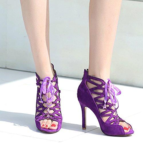 Sandales 5 Femmes Bottines TAOFFEN Lacets Talons Ete Purple zfdax0qwx