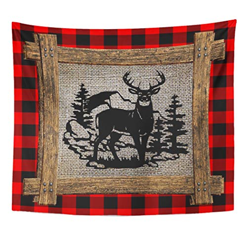 Semtomn Tapestry Artwork Wall Hanging Cool Deer on Red Black Buffalo Check Plaid Vintage 50x60 Inches Tapestries Mattress Tablecloth Curtain Home Decor - Plaid Curtain A On