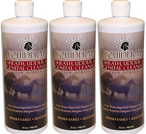Equiderma Sheath and Udder Cleanser for Horses, 32 Ounces Per Bottle (3 Pack - 32 -
