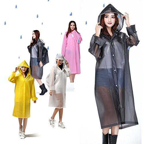 Reusable EVA Rain Poncho with Hoods Sleeves Drawstring Transparent Raincoat with Bag Cover for Men Women