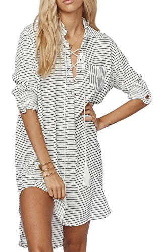 KingsCat® Striped Drawstring Beach Dress Style Swimsuit Cover Up,One size,White (Striped Cover Up)