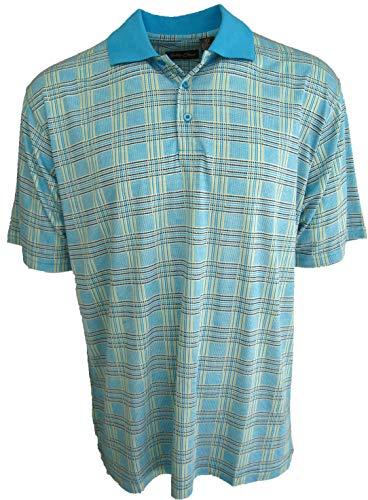 Men's Silk & Cotton Blend Polo Golf Shirt Plaid (Large, Lake)