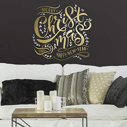 RoomMates Merry Christmas Quote Peel and Stick Giant Wall Decals with Metallic Ink (Improvement Home Christmas Quotes)