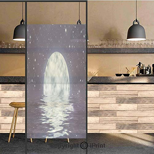 3D Decorative Privacy Window Films,Moon Setting over the Sea with Waves Night Sky with Stars End of the Evening Decorative,No-Glue Self Static Cling Glass film for Home Bedroom Bathroom Kitchen Office
