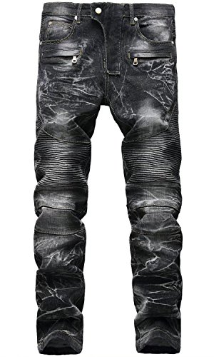 Men's Vintage Distress Acid Wash Biker Jeans Denim Pants, 6501 Black, W34
