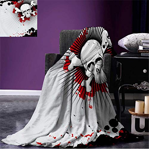 Anniutwo Halloween Throw Blanket Skull with Crossed Bones Over Grunge Background Evil Scary Horror Graphic Soft Pearl Red Black W80 x L60 inch
