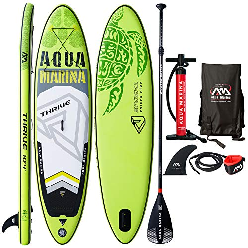 "Aqua Marina Thrive 10'4"" Inflatable Stand Up Paddle Board (6"" Thick) with Double Action Pump, Magic Backpack, Slide-in Center Fin, Sports III Paddle, Safety Leash, Bundle"