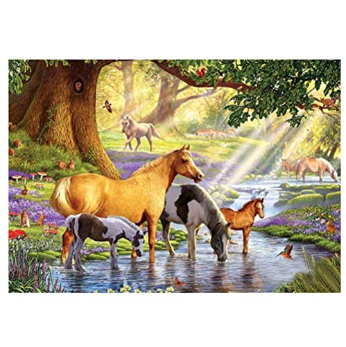 YaYiYo 5d Diamond Color and Diamond Cross Stitch Streamside Horses Painting Kits Rhinestone Crystal Embroidery Handmade Art Carft Wall Decoration (15.7 X 11.8 Inch)